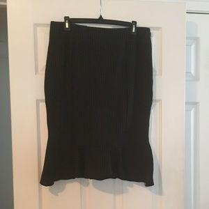Pinstripe Flounce Hem & Inverted Pleat Skirt